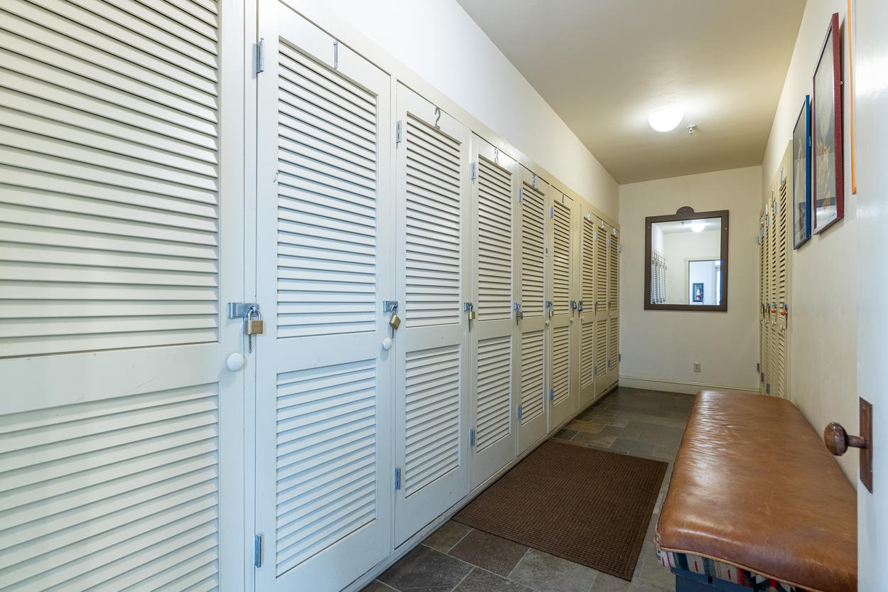 The luxury condo comes with its own ski and gear storage locker.