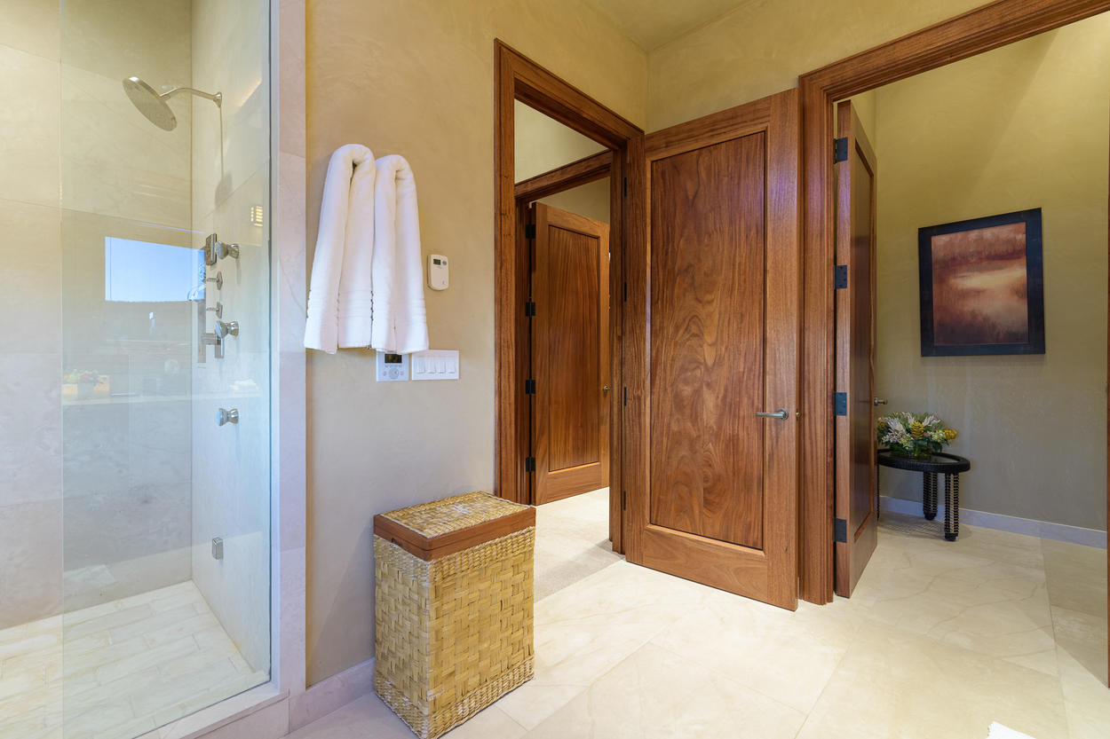 The door to the Master Ensuite is located at the far end of the Master Bedroom.