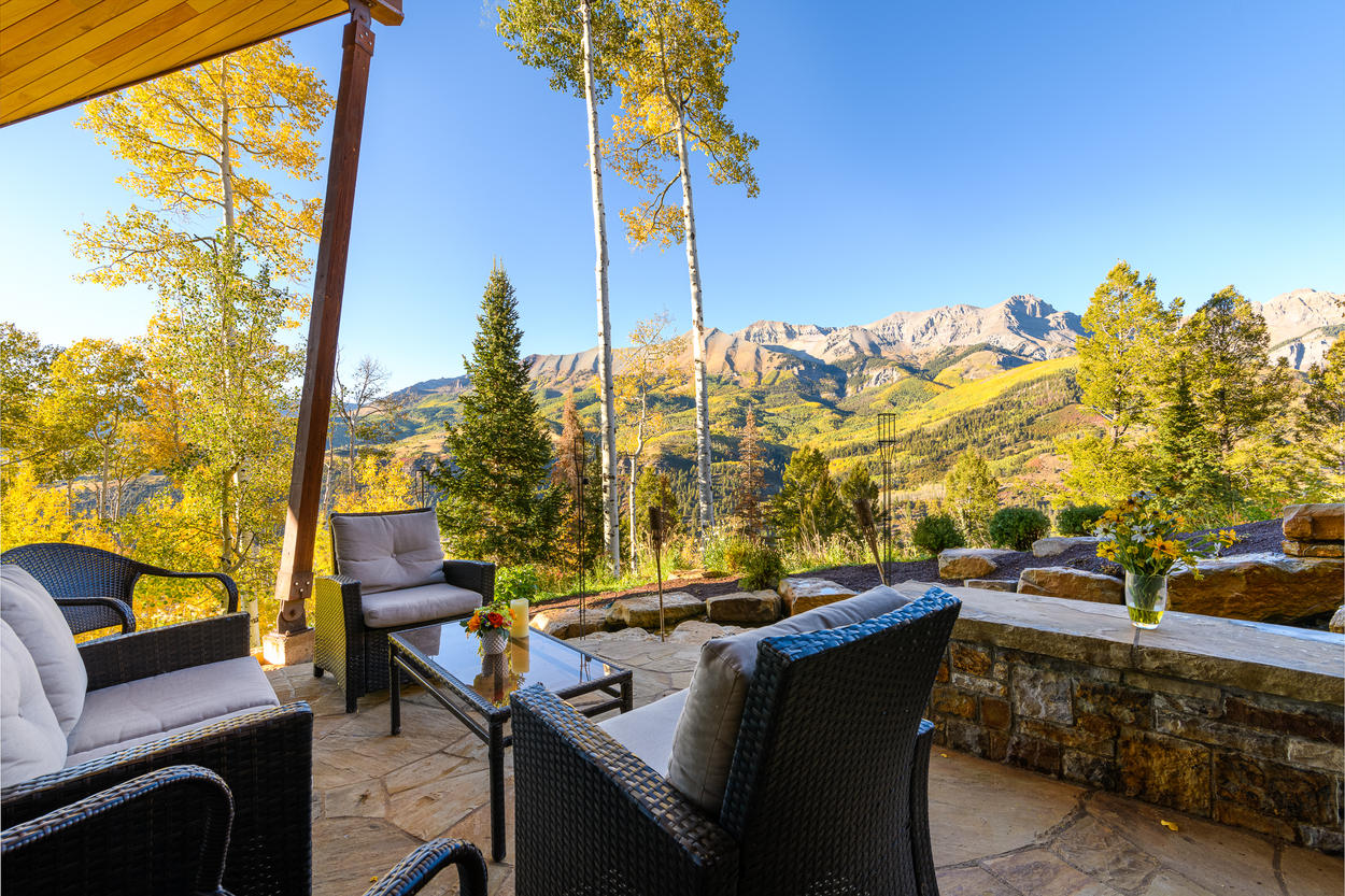 The patio boasts some of the best views in all of Telluride.