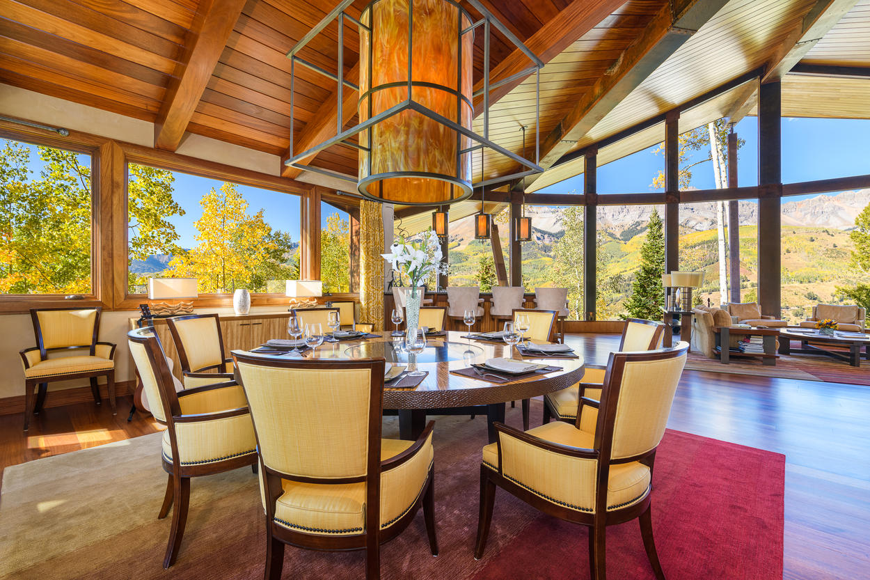 In the formal dining room, there's space for up to 10 guests to gather around the round table.