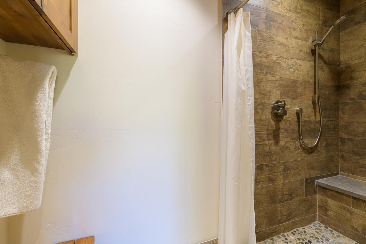 The bunk room ensuite also has a walk-in shower.