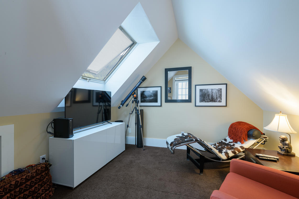 There's a cozy lounge on the 3rd floor complete with a skylight and telescope.
