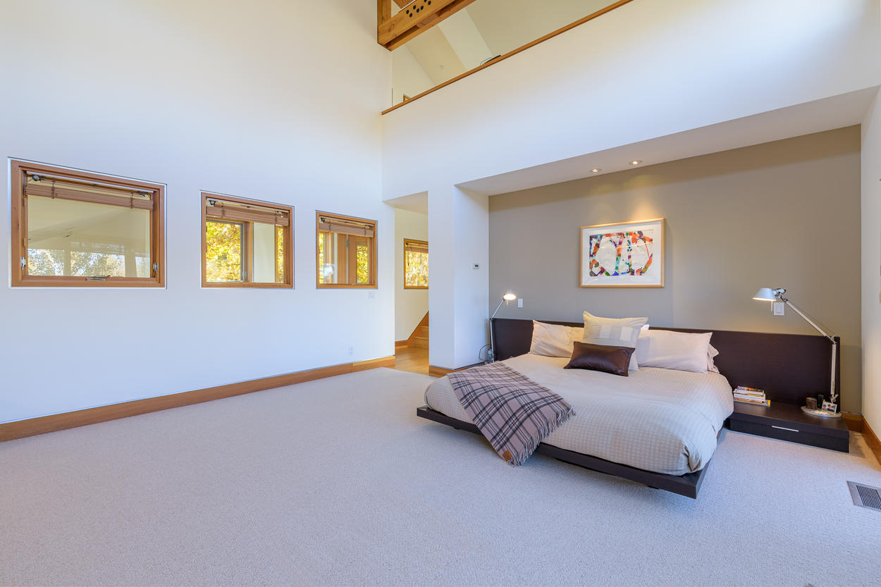 The Master Bedroom is subtle with clean lines; perfectly suited for a Mountain Modern home.