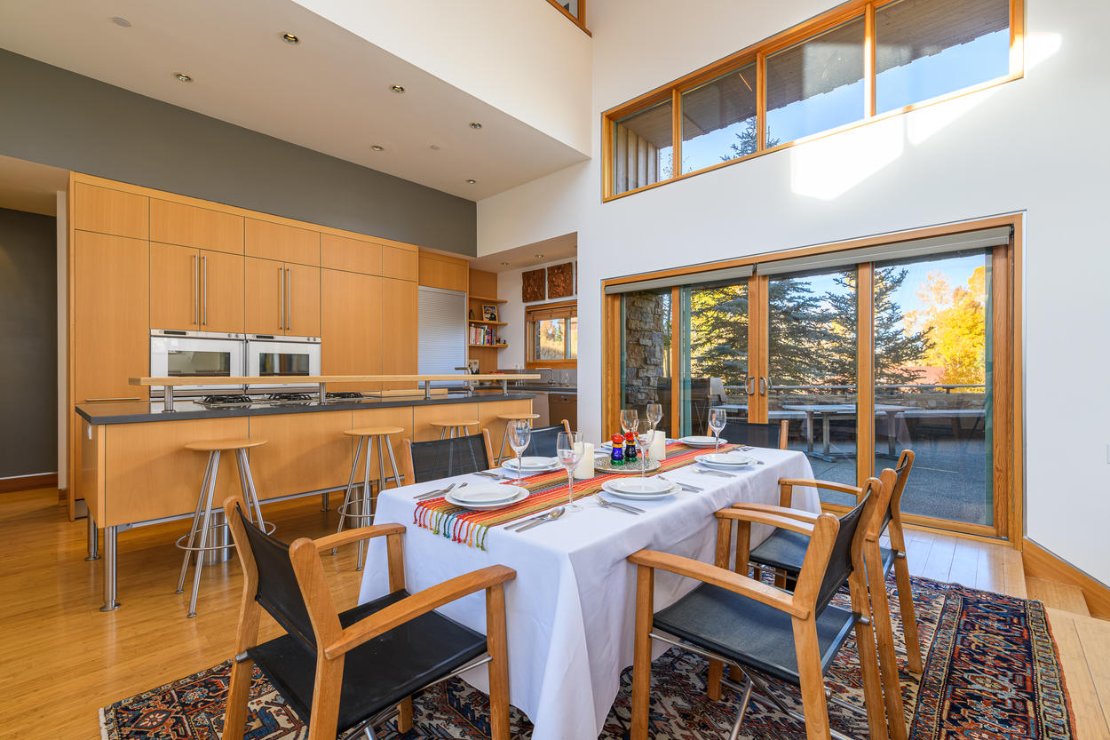 Access the side deck from the dining area.
