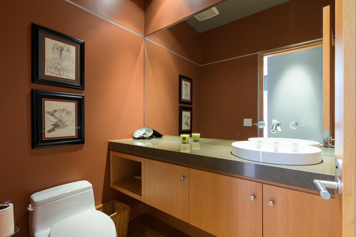 There's a convenient powder room located on the first floor.
