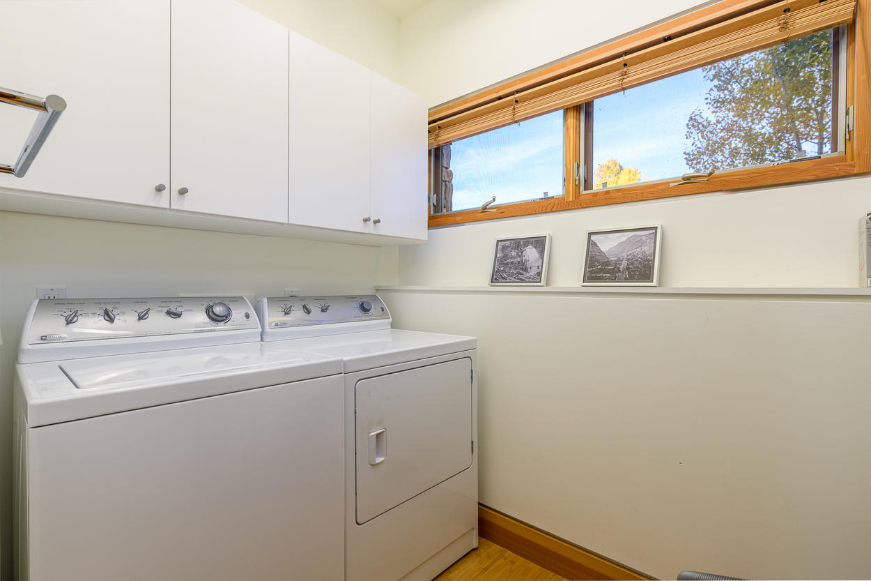 The laundry room is also located on the first floor.