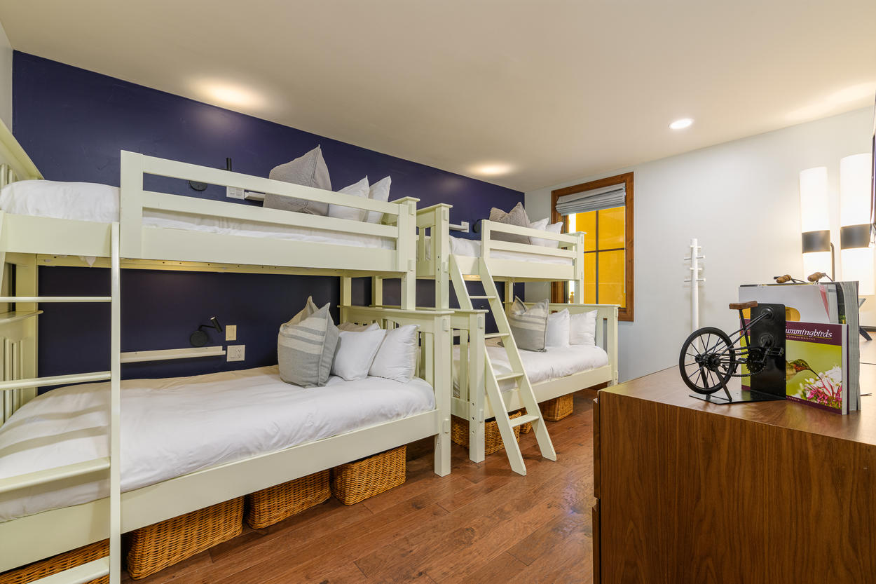 The bunk room adds even more versatility to sleeping options, with two captain's bunks that each have a twin over a full-size bed.