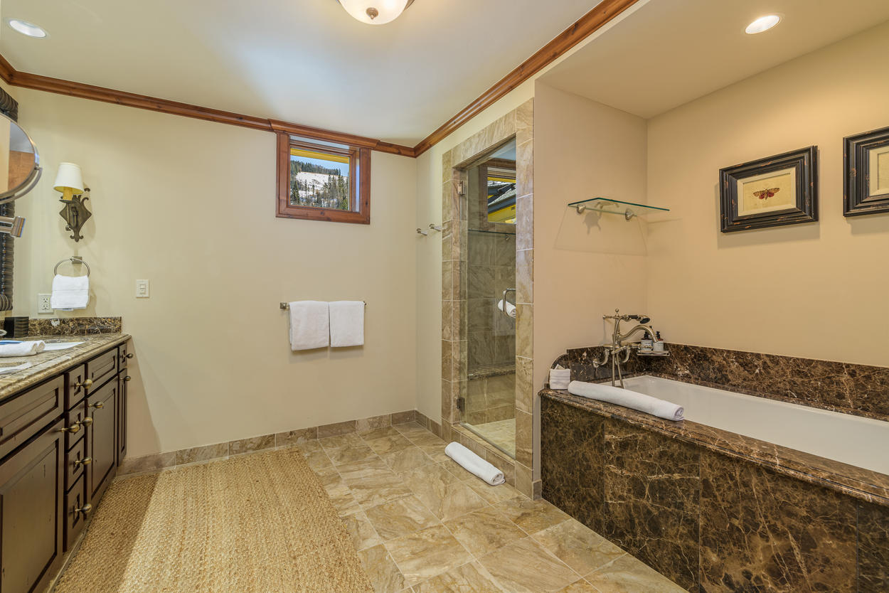 The Master Ensuite features a double vanity.