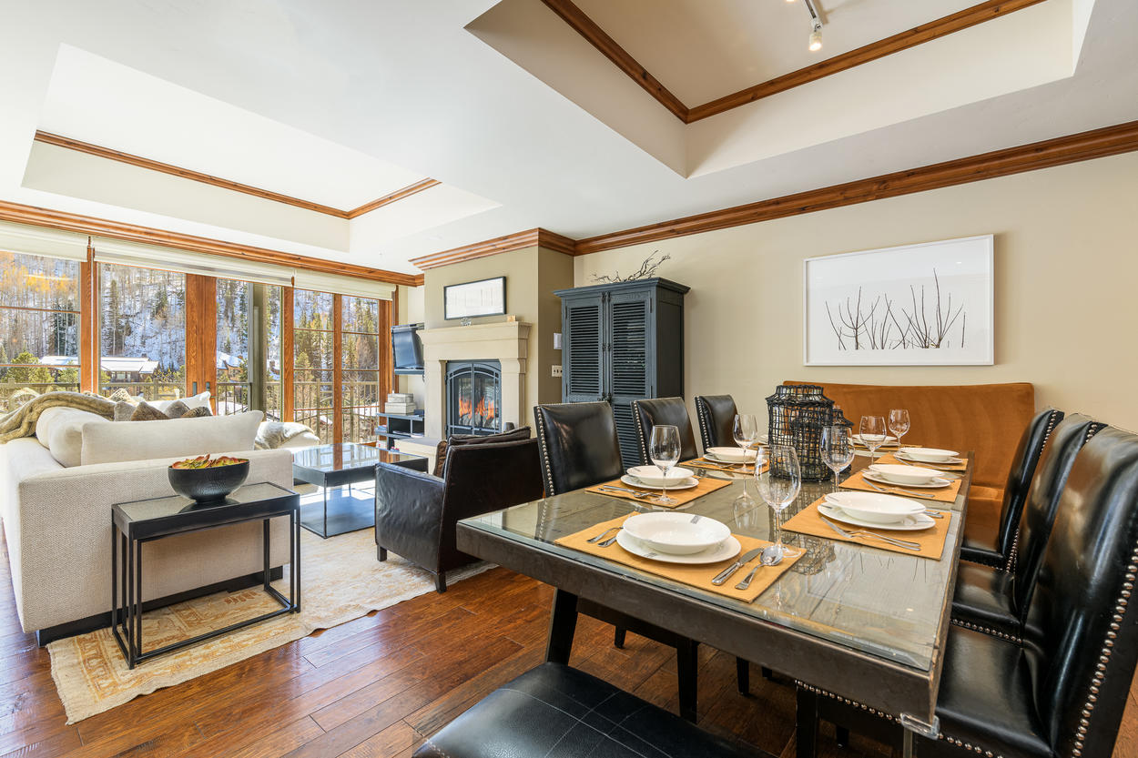 The dining table has seating for up to eight guests.