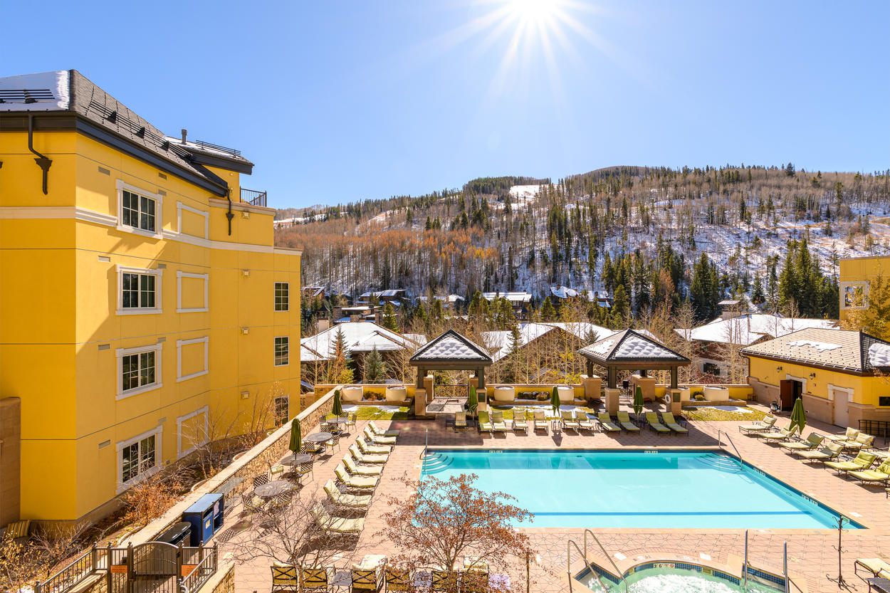 Summer or winter, the balcony is the perfect place to take in all the action at the resort.