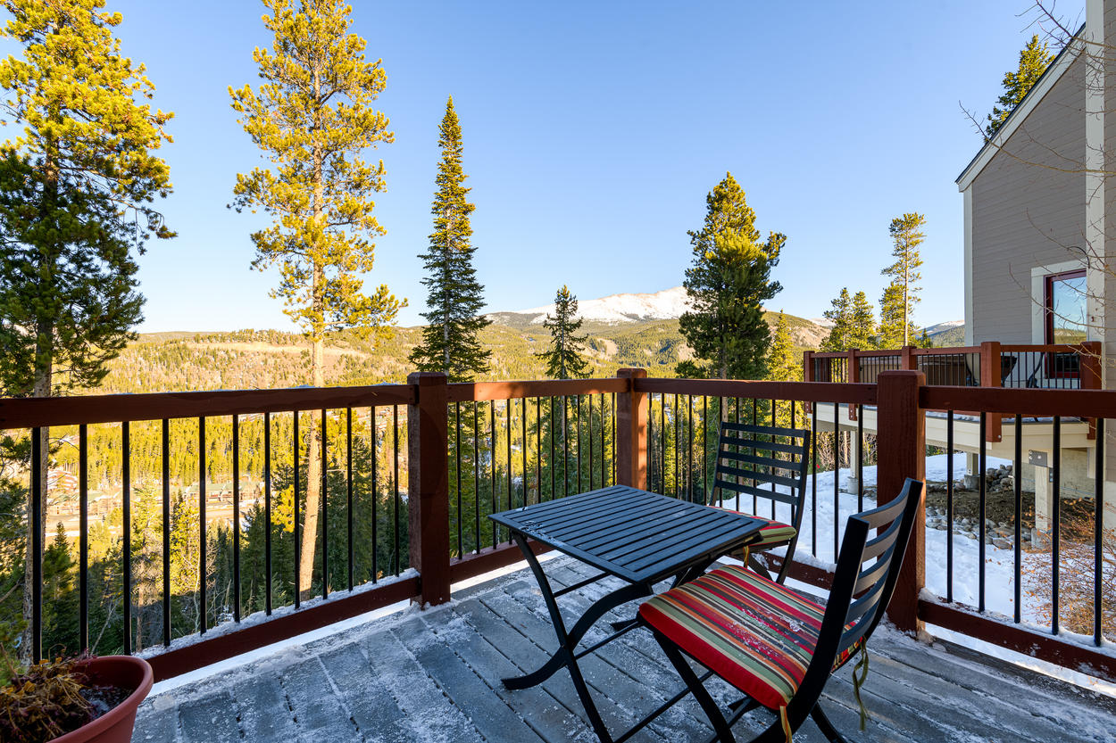 Look out across the valley and to the peaks beyond from the private deck.