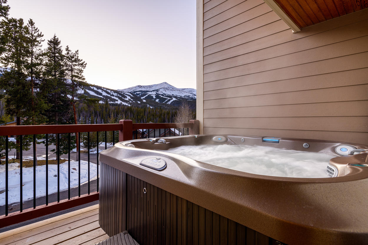 The private hot tub is located on its own deck, and has views of the Breckenridge slopes.