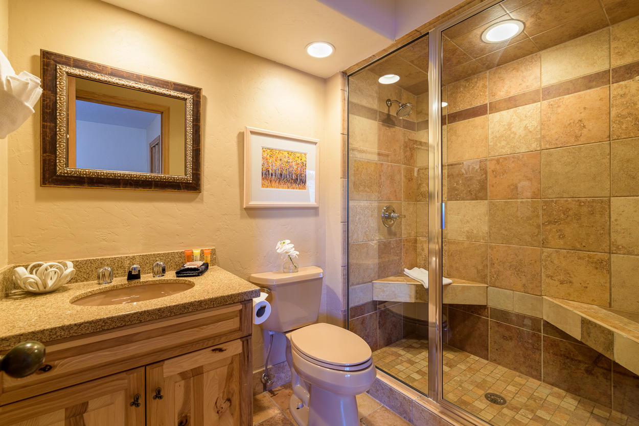 The 1st floor Queen Guest Ensuite has a single sink and walk-in shower.
