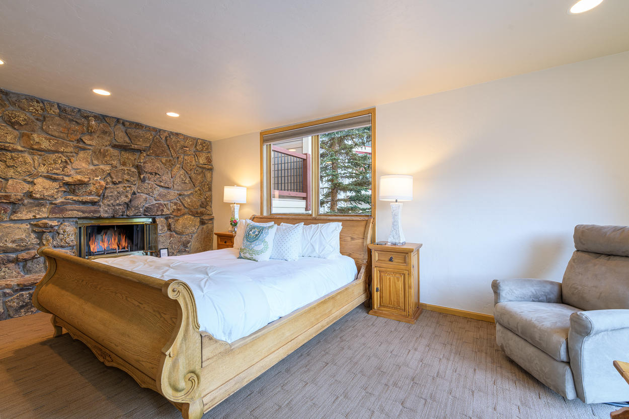 The Master Bedroom has its own wood-burning fireplace.