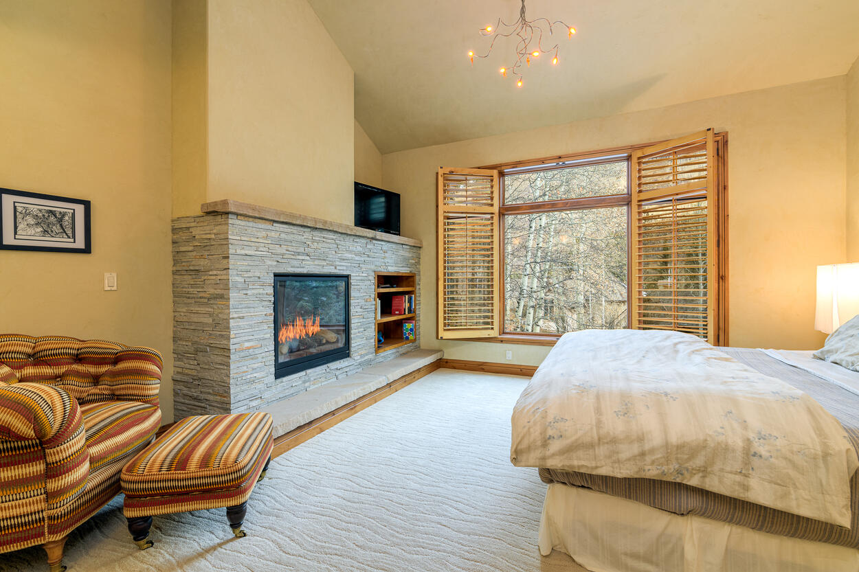 The King Bedroom is on the second floor and features its own gas fireplace.