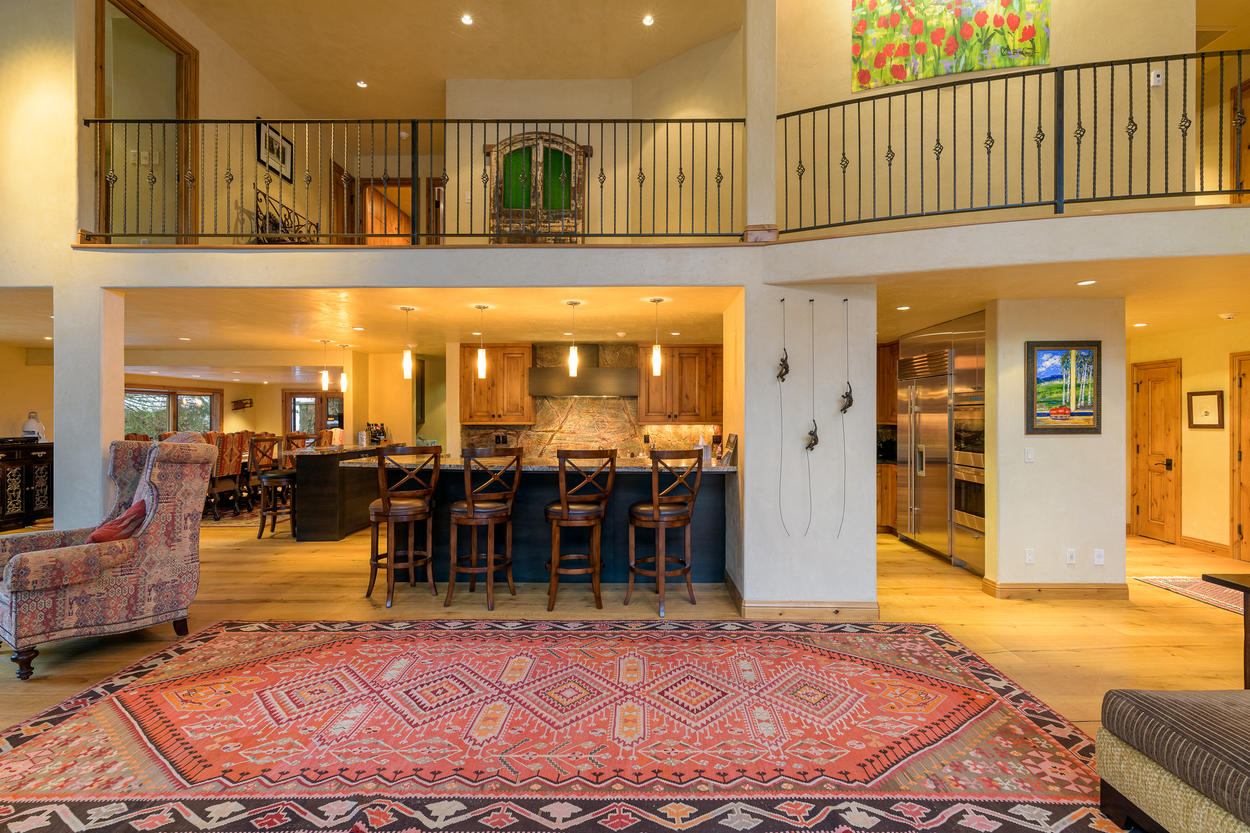 There are two breakfast bars with seating for four guests and two guests each.