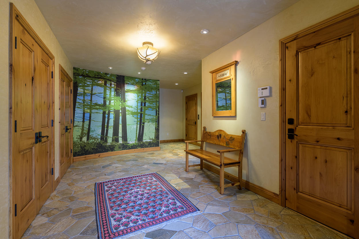 Enter the home on the first-floor foyer.