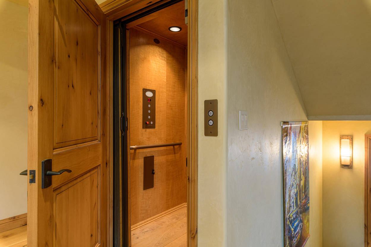The in-home elevator makes it easy to access all floors with luggage.