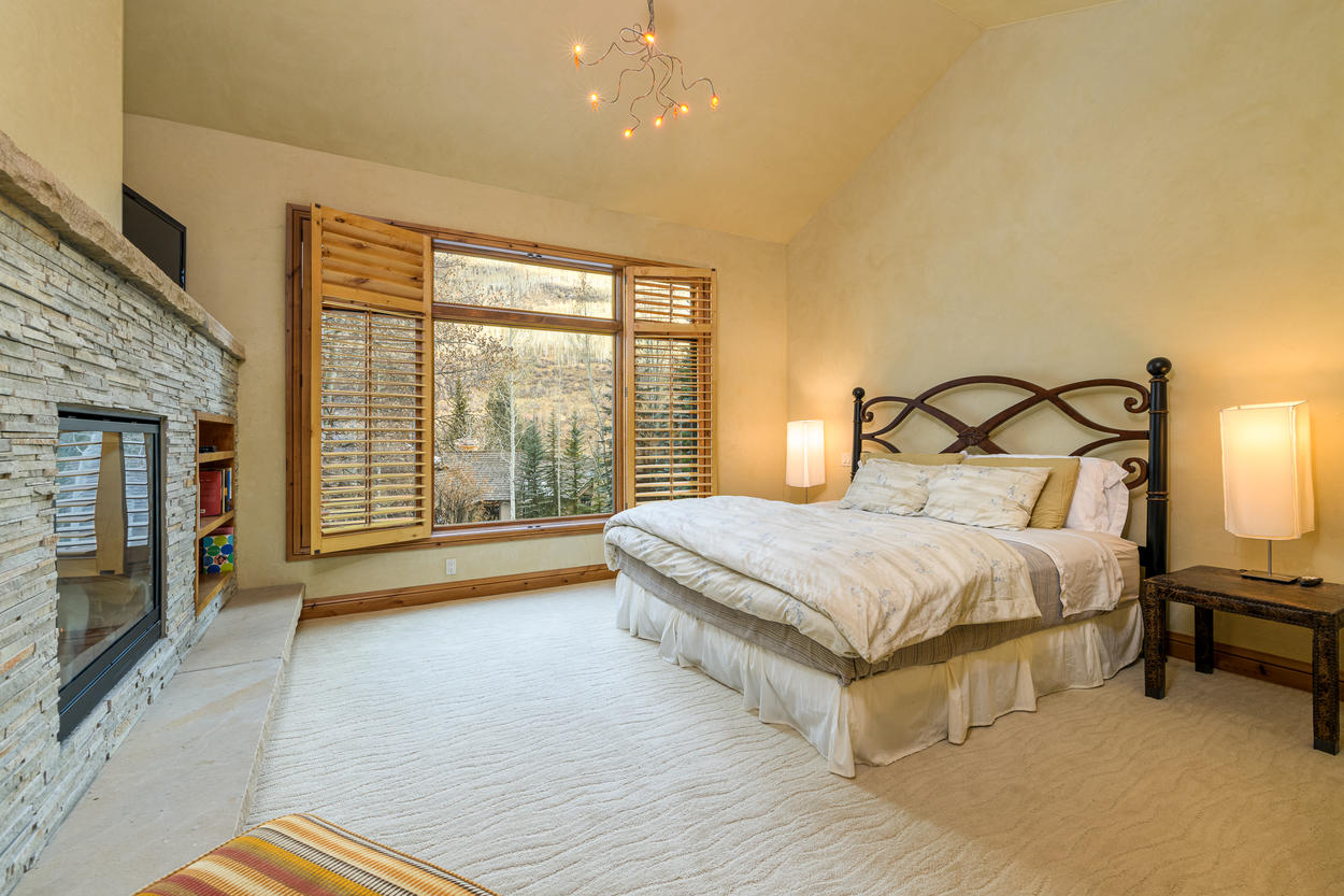 The King Guest Bedroom is on the second floor, and features its own gas fireplace.