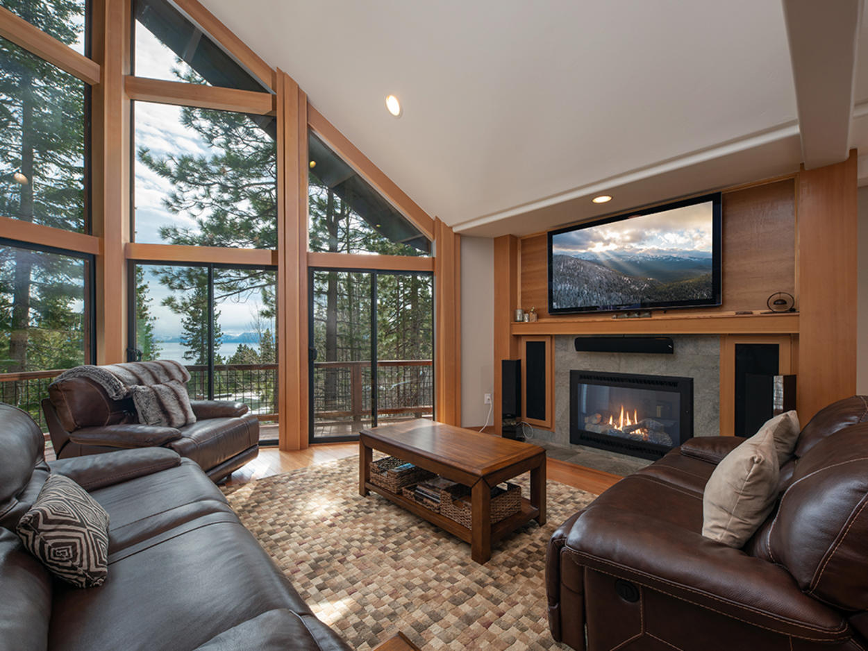 Take in the amazing views of Lake Tahoe from the living room