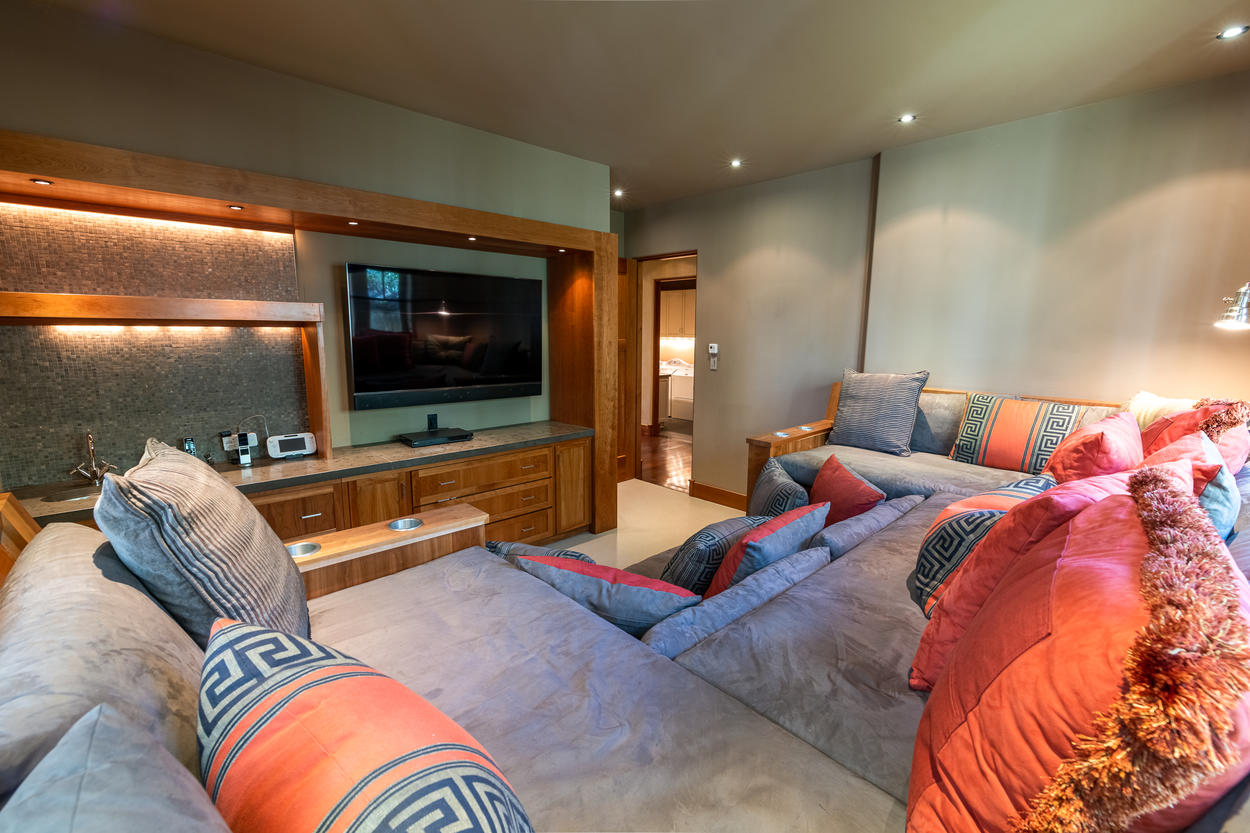 Plush and Playful Media Room fully stocked for Game Night