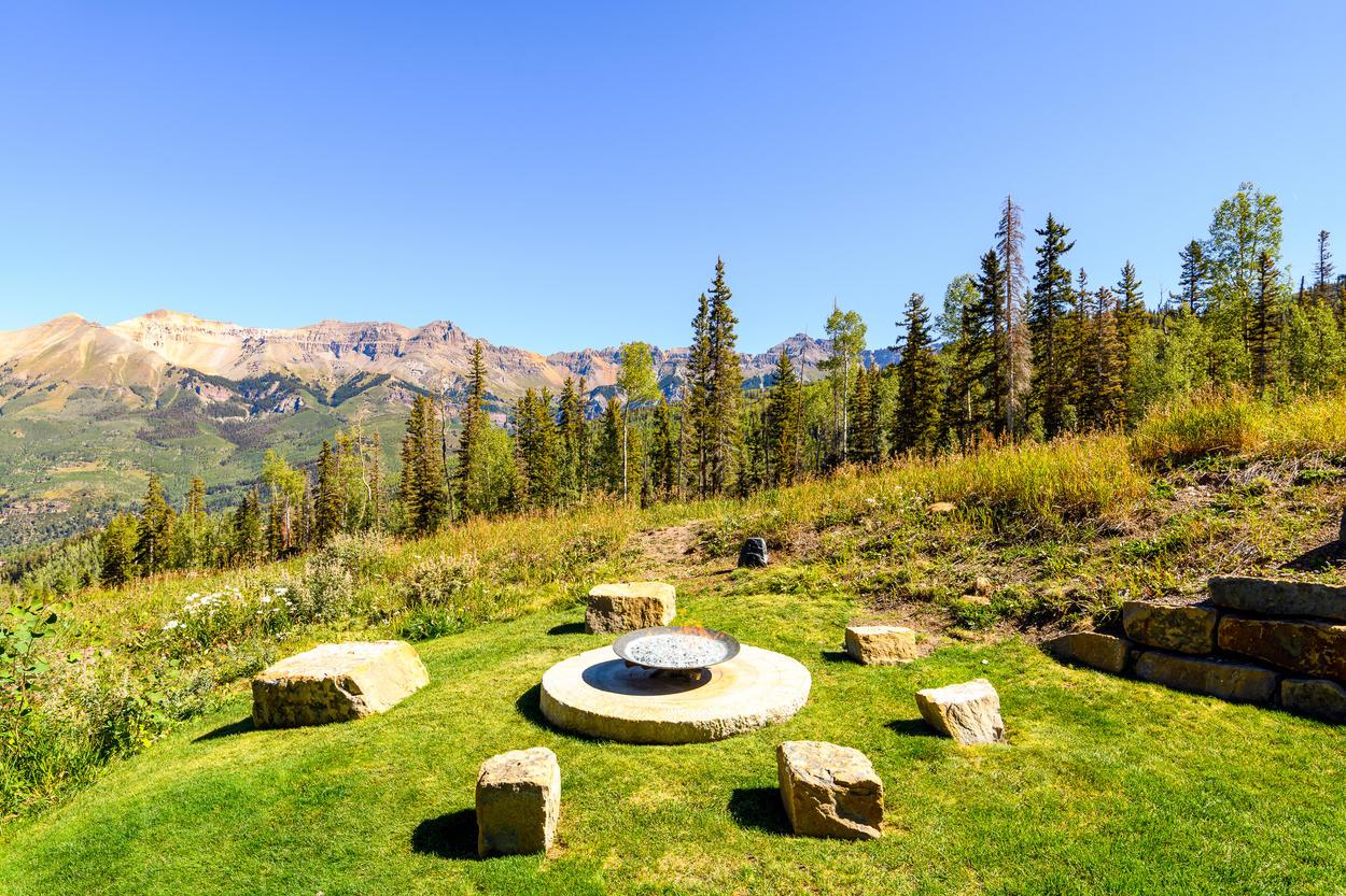 Mountain Views around the Outdoor Fireplace