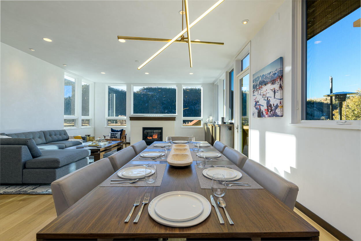 Sleek dining table with seating for eight