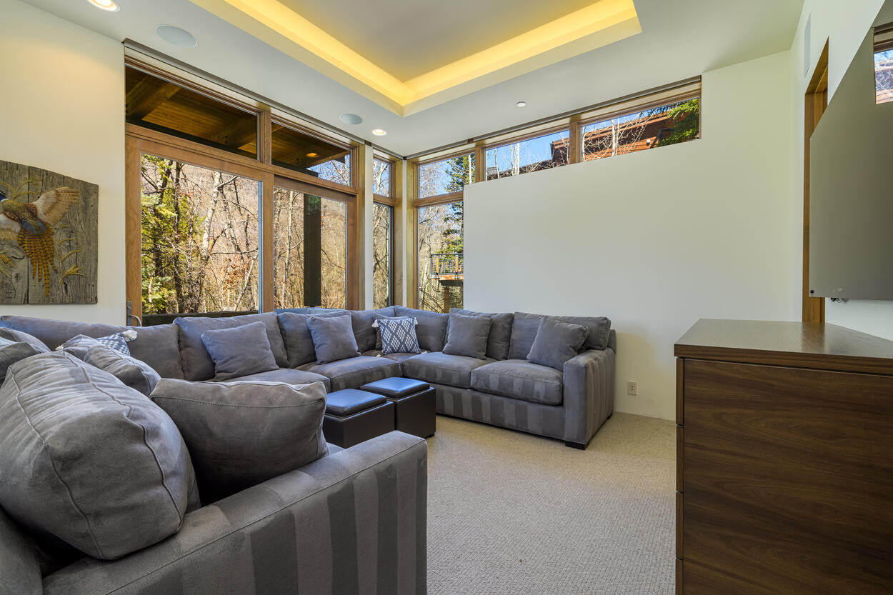 Lower lounge with wrap around couch and big screen TV