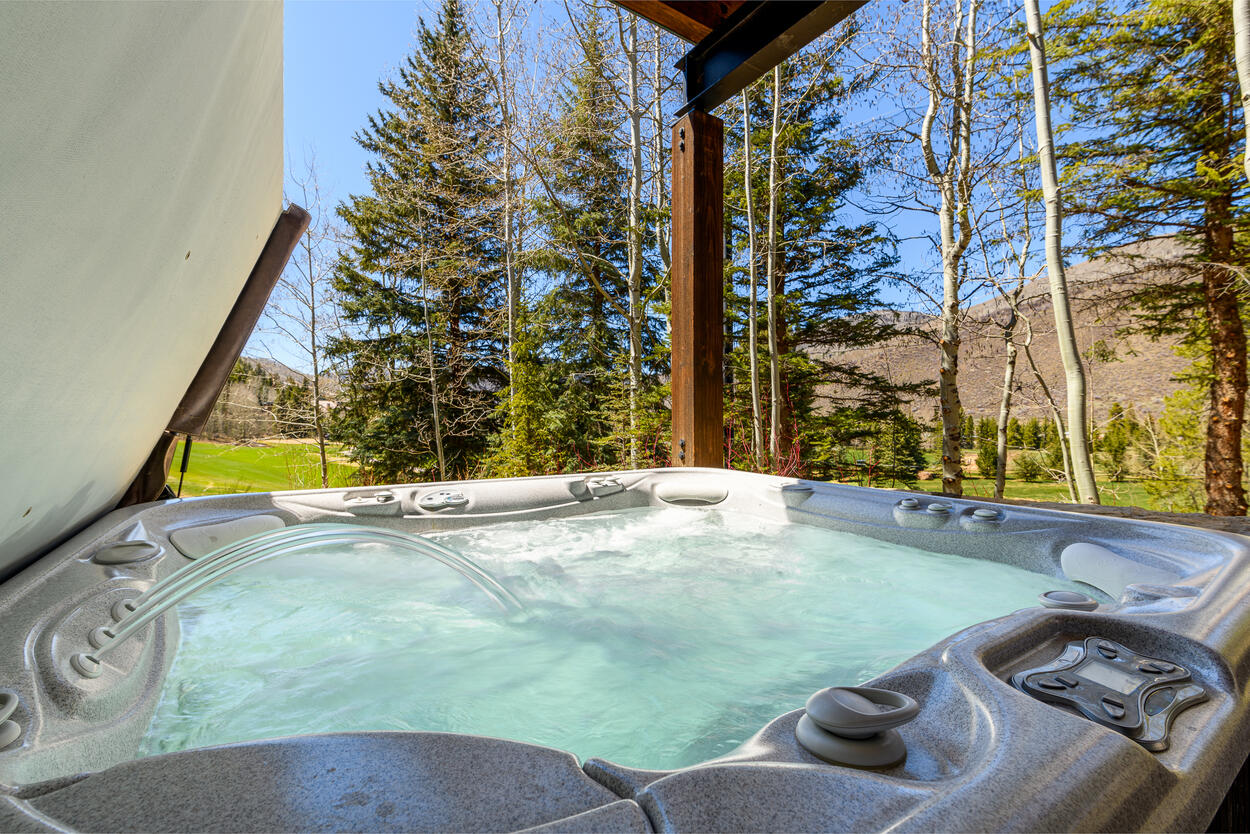 Private hot tub on the lower level